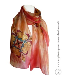 shibori-hand-painted-silk-scarf-kaleidoscope-peach-red-yellow-1