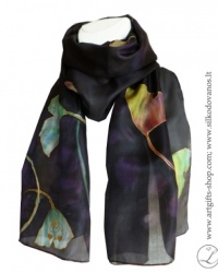 ginko-leaves-hand-painted-silk-scarf-black-2