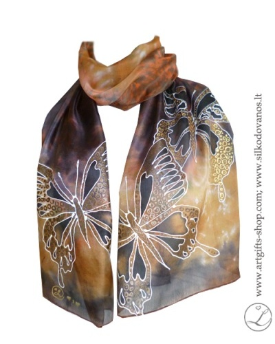brown-butterfly-hand-painted-silk-scarf-tapytas-silk-salikas-rudas-drugeliai-2