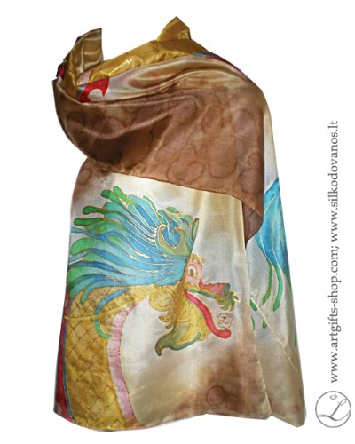 hand-painted-silk-scarf-dragon-brown-tapytas-silko-salikas-drakonas-ruda