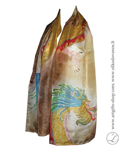 hand-painted-silk-scarf-dragon-brown-tapytas-silko-salikas-drakonas-ruda3