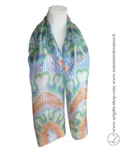 hand-painted-silk-scarf-lithuania-wearableart-handmade-orange-brownblue-green-3
