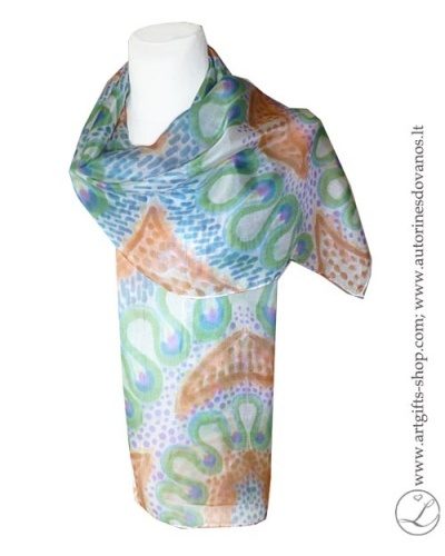 hand-painted-silk-scarf-lithuania-wearableart-handmade-orange-brownblue-green-4