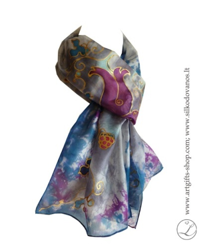 purple-grey-shibori-painted-flowers-silk-scarf-2